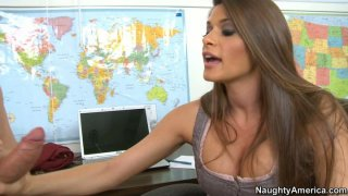 Strict and sexy Madelyn Marie makes him get naked for her thumb