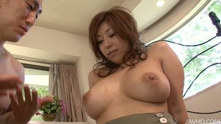 Brownhead japanese slut Naho Hadsuki squeezes her big tits and gets her wet pussy licked dry thumb