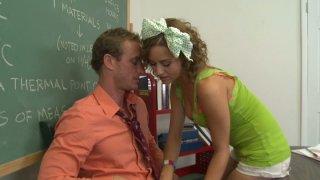 Curly haired teen Mae Meyers has crush on her teacher thumb