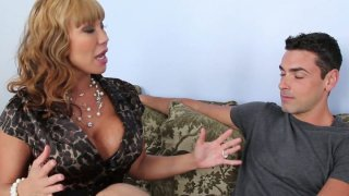 Curly chick Ava Devine provides a stiff dick with a stout blowjob thumb