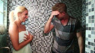 Whorish blonde chick Brooke Fox gives sloppy blowjob thumb