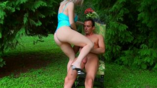 Pale blond head Isabella Clark rides a cock on the deck chair thumb
