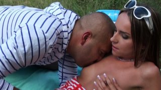 Awesome black head Leyla Black gives a stout blowjob in the woods thumb