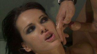 Seductive brunette hoe Jennifer Dark gets facial after a pounding thumb