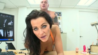 Kinky Nikki gets penetrated with a dildo and a real cock one by one thumb
