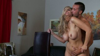 Blonde whore Julia Ann is getting poked hard in various positions in an art studio thumb
