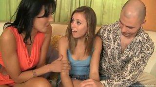 Kinky hot chicks Zoey Holloway, Kara Finley enjoy pleasing Ralph Long's cock thumb