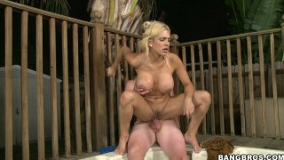 Busty wet blondie Carmel Moore rides and sucks a cock in jacuzzi thumb