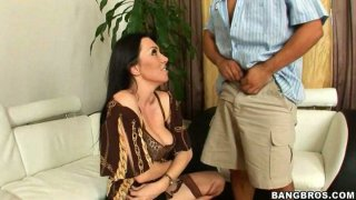 Hot brunette mommy Ava Allure gives her husband a blowjob thumb