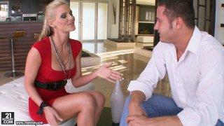 Slutty blonde whore Phoenix Marie gives blowjob and titjob thumb