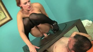 Sexy bitch Jamey James takes Ralph Long's prick for a_ride thumb
