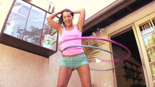 Bodacious brunette Sabrina Sweet takes black hose in her mouth thumb