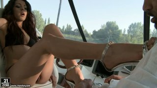 Foot fetish_session on the bost with_delicious babe Addison Dark thumb
