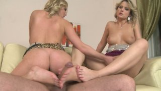Eve Sweet fucks in a hot threesome having her toes sucked hard thumb