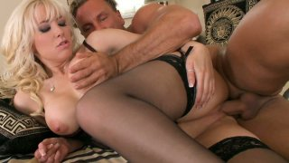 Dude eats and bangs the pussy of busty hoochie Karlie Simon thumb