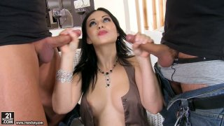 Dirty wench Angell Summers greedily sucks to dicks in a hot threesome thumb