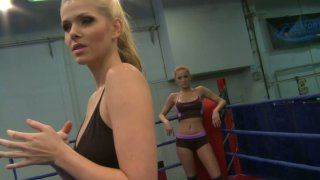 Feisty Katalin and Lily Love are having passionate fight on a ring thumb
