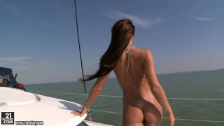 Impressively sexy Christina Bella shows her gorgeous body and gives a head on a yacht thumb