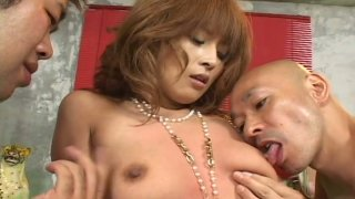 Two horny dude pound Azusa Isshiki in a hot threesome sex video produced by AvIdolz thumb