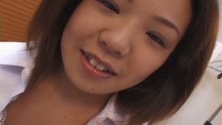Fat Japanese student chick Maki Ishizaka has a foreplay with her boy thumb