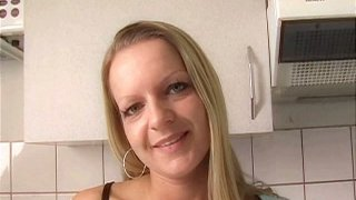 Ugly blonde housewife Ella strips and teases for the cam thumb