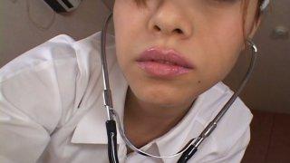Sultry nurse Jun Rukawa seduces the patient and blows his prick thumb