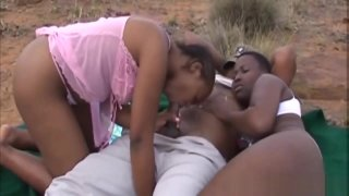 African Slut Gets Fucked Out In The Wild thumb