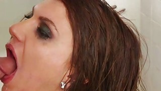 Teen brunette slut ball gagged and analyzed in the toilet thumb