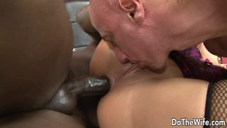 Wife Linda Ray Gets Black Cock in Her Ass and Feeds Cuck Hubby a Creampie thumb