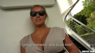 Curvy and busty blonde bombshell Cherlyn shows her giant tits_on_a boat ride thumb