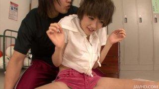 Flexible asian teen Akina Hara gets undressed in locker room thumb