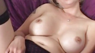 Busty MILF gets her tight cunt screwed by a fat black prick thumb