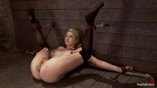Shy sexy blond girl is trapped, bound, humiliatedLong legs_spread wide, made to cum like a_whore thumb
