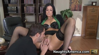 Rough fuck of chic milf India Summer in fancy black stockings and Kris Slater thumb