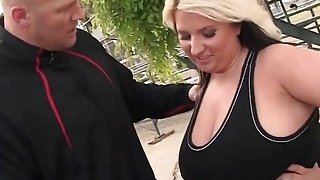 A sexy big tit blonde BBW sucks trainer's big cock and gets her pussy banged thumb
