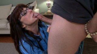 Nasty aunty Karen Kougar giving blowjob and getting lube job thumb