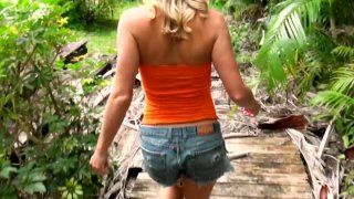 Charming blonde teen Loren suck session on the wooden terrace thumb