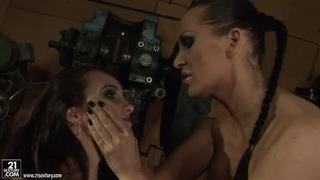Lesbo bondage with Aleksandra Black & Mandy Bright thumb