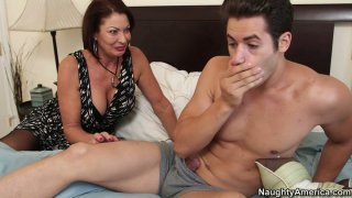 Horny momma Vanessa Videl wakes her young lover with cock kisses thumb