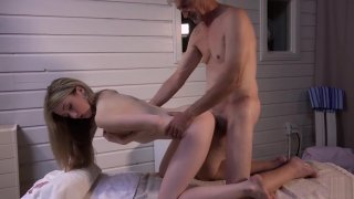Skinny Teen Massage has sex with grandpa and sucks his cock thumb