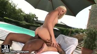 Laura King has sex with black man near pool thumb