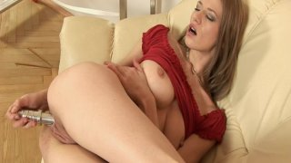 Skinny blonde Laura Milk Enema in red outfit penetrates her pussy with metal dildo thumb