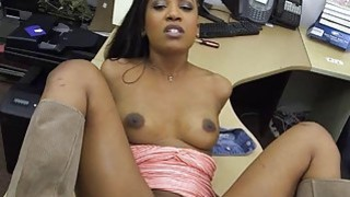 Sexy black chick fucked by pawnkeeper for a golf club thumb