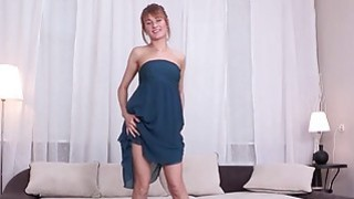 Beautiful Esperanse fucks herself with_a_red jelly dildo thumb