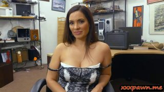 Busty lady BJ and gets boned by pawn man thumb