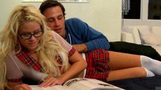 Naughty blonde whore in miniskirt Jessa Rhodes get her muff eaten thumb