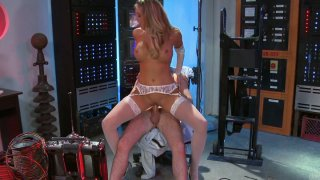 Blond head Samantha Saint rides cock toughly in the TV studio thumb