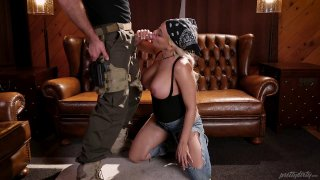 Military blonde is giving a great blowjob and_rides him thumb
