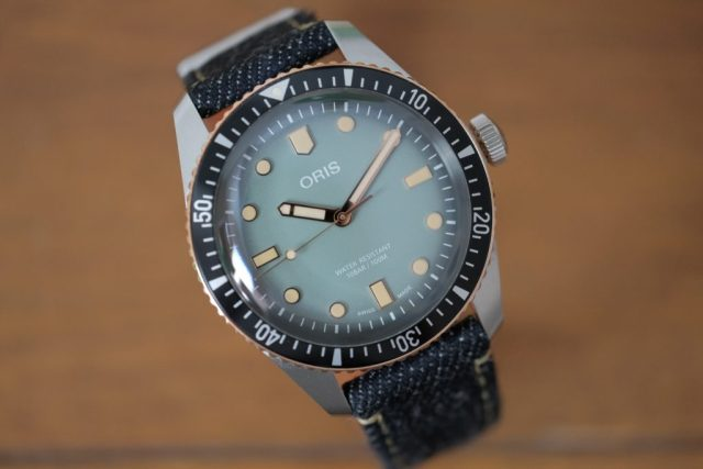 Oris diver 65 dial close up