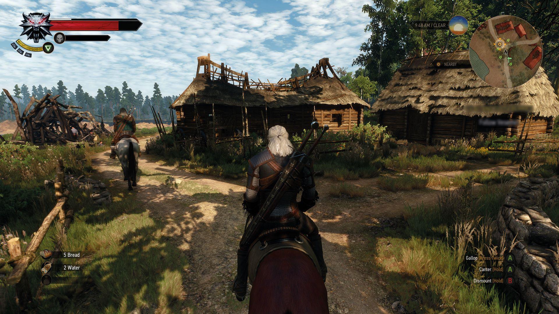 The Witcher's Geralt riding a horse